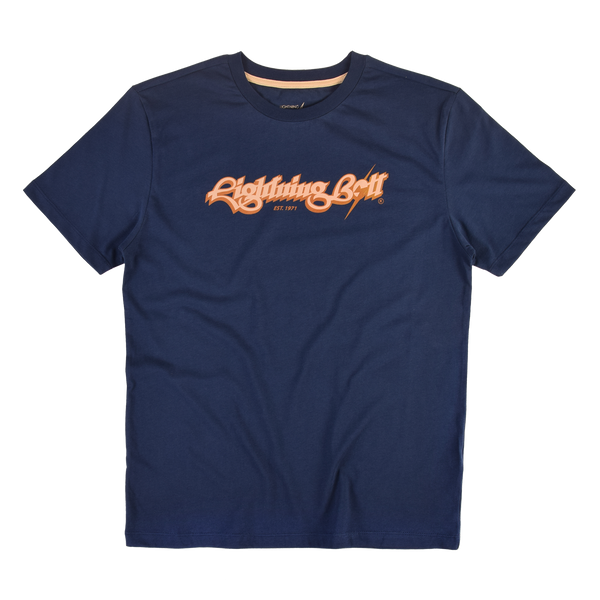 Lightning Bolt Script T-shirt Twilight Blue