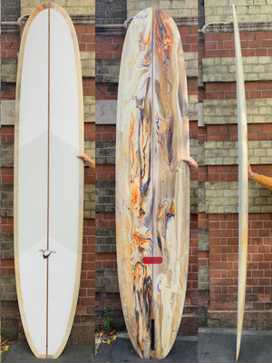 9'4 Weston Surfboards Axis in Sanded Cosmic Acid tint/Cream/orange/Purple