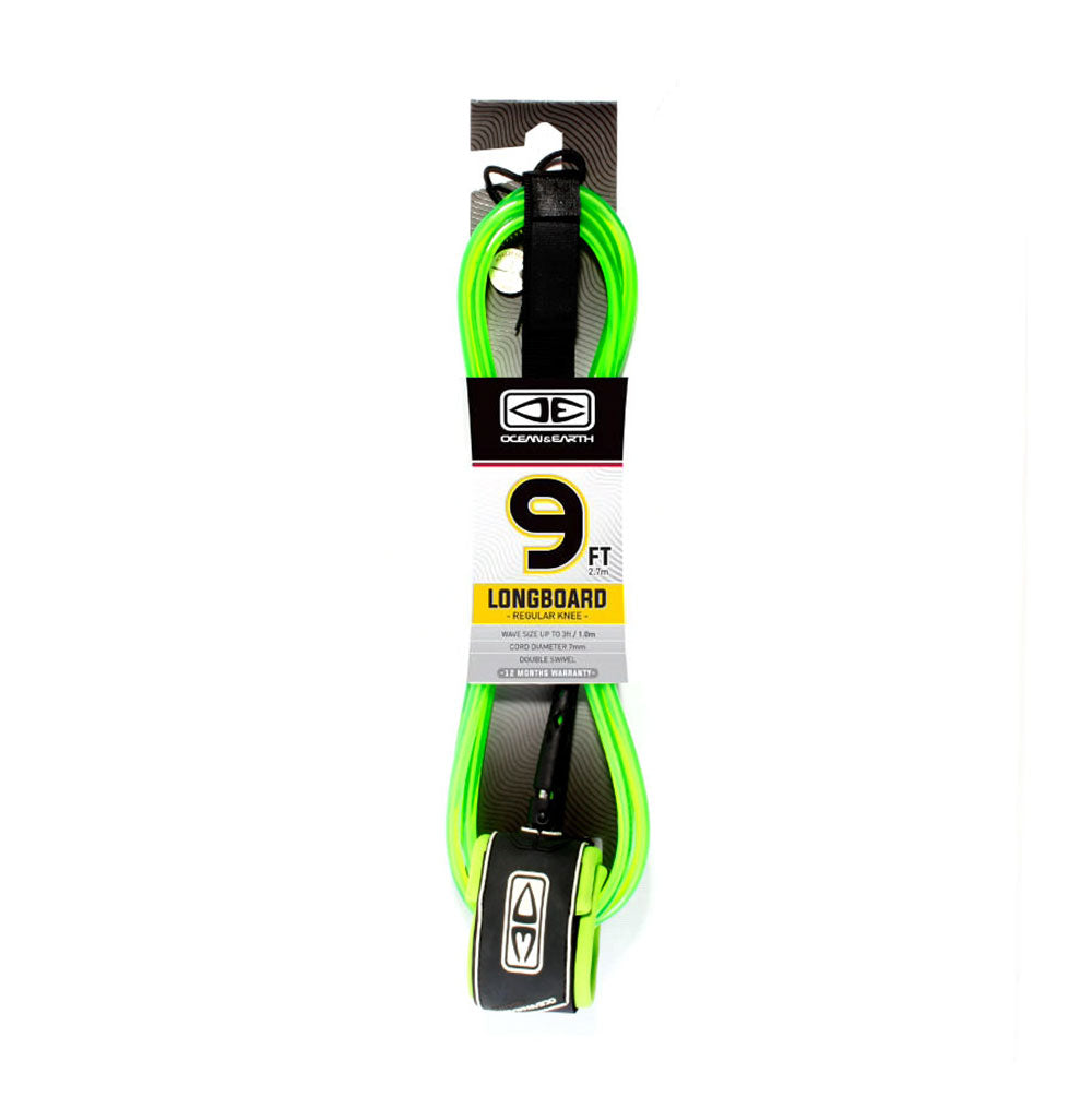 Ocean and Earth Longboard Regular Knee Leash 9'0 - Lime