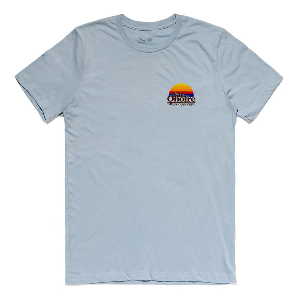 San Onofre Surf Co Old School Sun T Shirt Light Blue - clothing