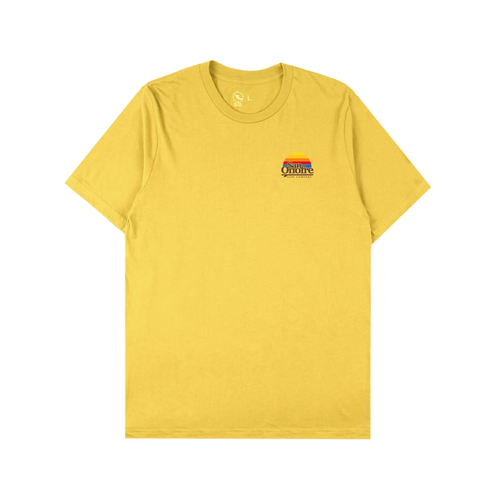 San Onofre Surf Co Old School Sun T Shirt Maize Yellow - clothing
