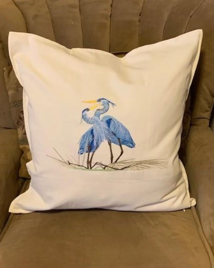 Custom order: 2 Herons pillow cover