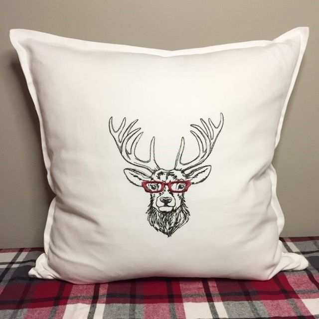 Christmas Pillow Cover - Embroidered Bespeckled Deer