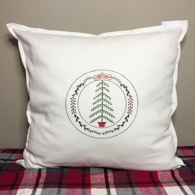 Christmas Pillow Cover - Embroidered Feather Tree