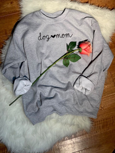 Dog Mom crew neck sweatshirt - gray