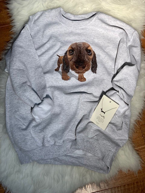 Dachshund crew neck sweatshirt - gray