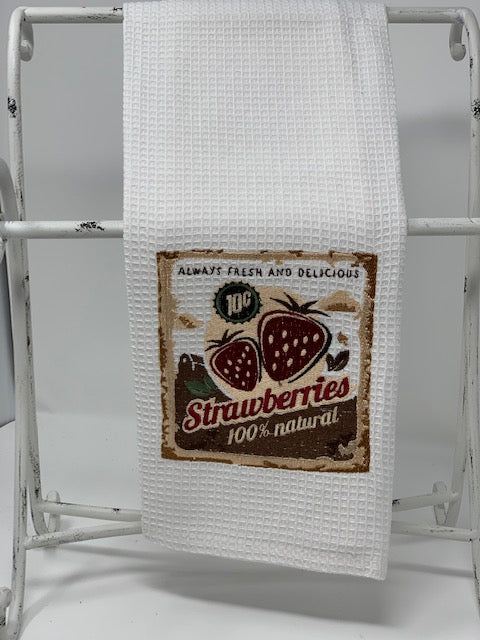 Tea Towel - vintage style, strawberries