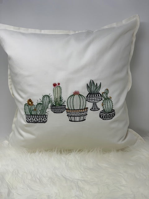 Embroidered pillow cover - cacti