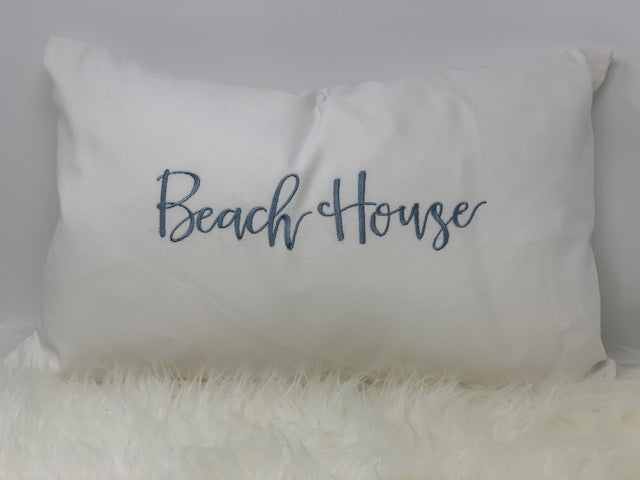Embroidered pillow - beach house