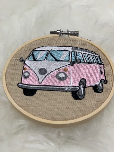 "Embroidered hoop 4"" - mini vw van"
