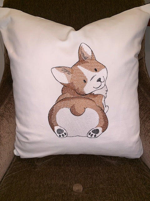 Custom Order - Embroidered Corgi Pillow cover with insert