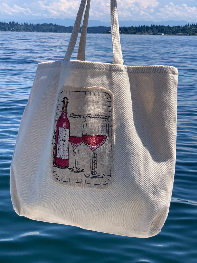 Canvas tote bag - red wine