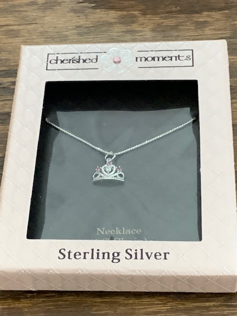 Princess Crown Sterling Silver Necklace