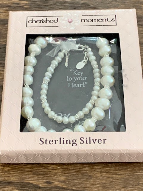 Mother and Daughter Sterling Silver Bracelet Set