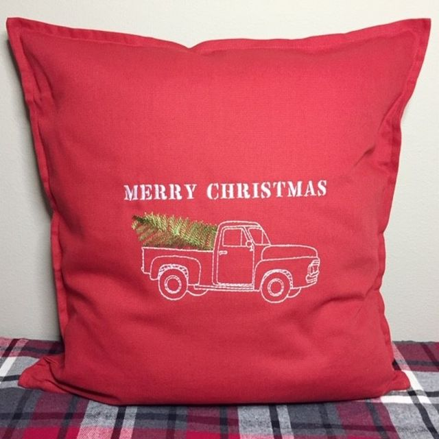 Christmas Pillow Cover - Embroidered Vintage Truck w/Tree
