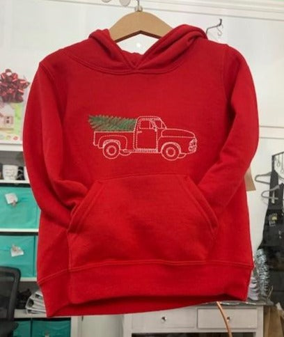 Toddler Hoodie Christmas Truck with Tree