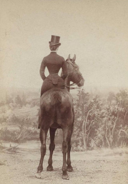 woman riding side saddle late 1800 (image from vintag.es, unknown author)