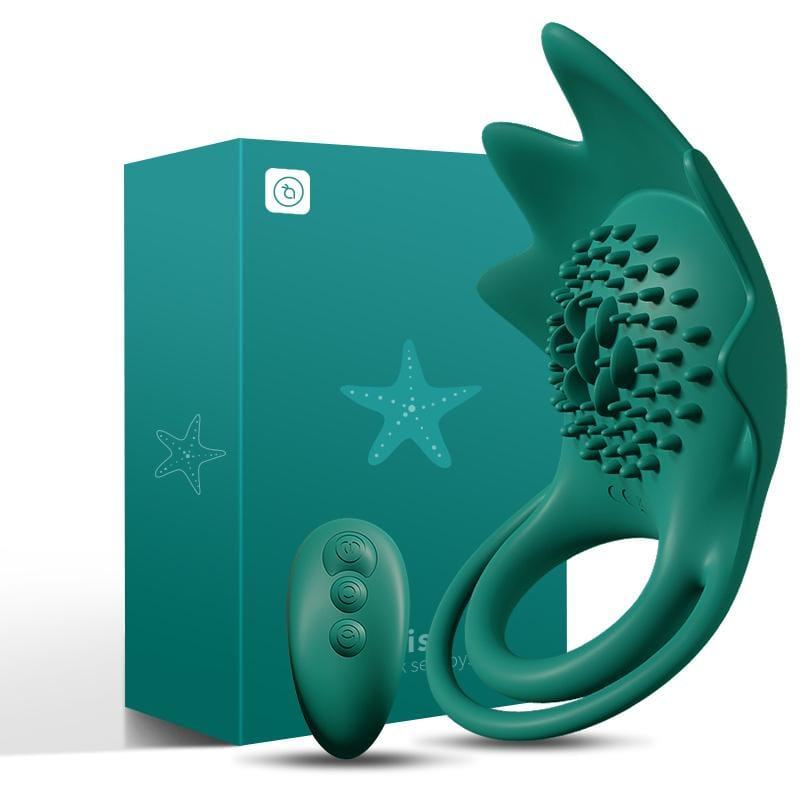 2021 Kidimi Star Fish Wireless Cock Ring Vibrator For Couple For Him Time Delayed Lock
