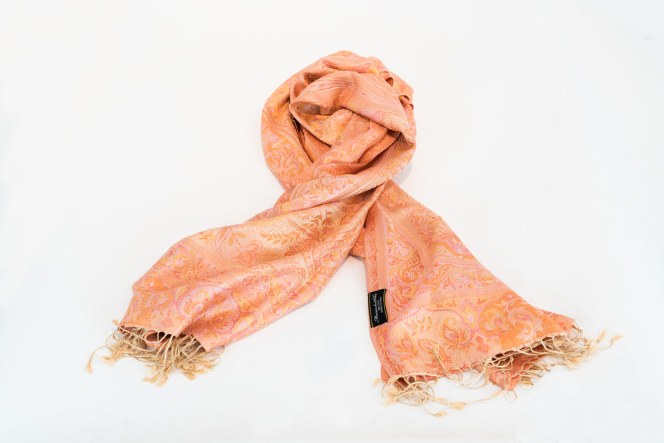 WOMEN'S MULBERRY ORANGE LARGE PAISLEY PRINT SCARF