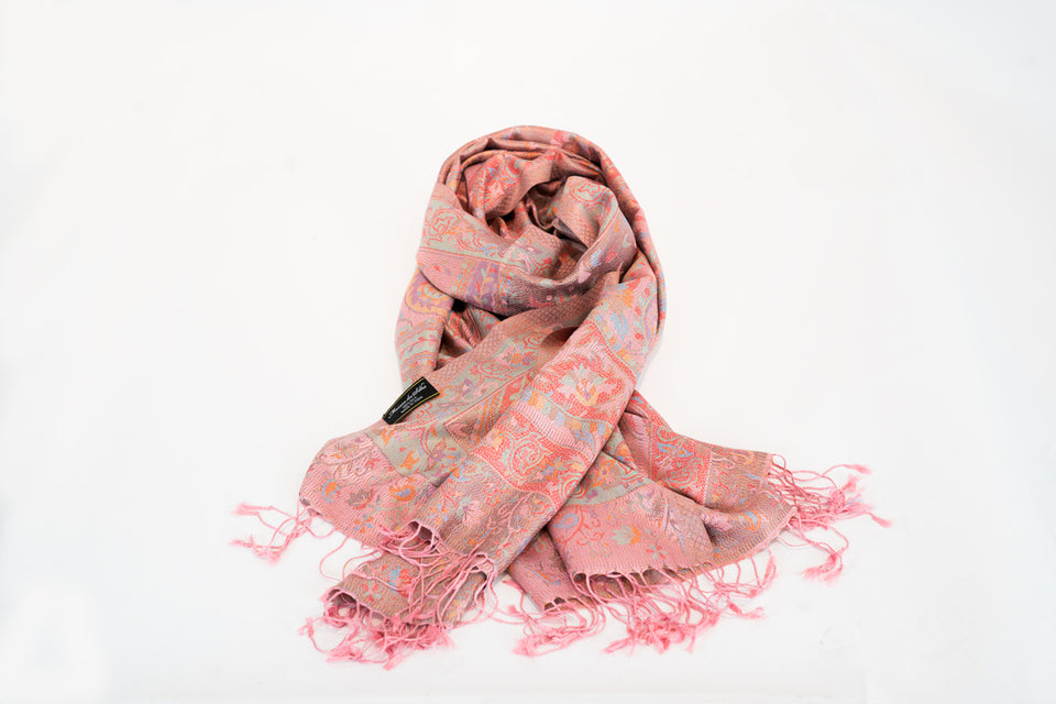 WOMEN'S MULBERRY SILK PINK PAISLEY PRINT SCARF OR SHAWL