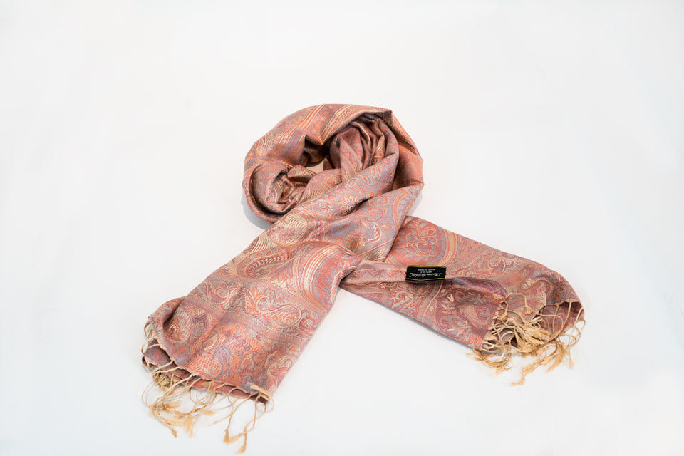 WOMEN'S MULBERRY SILK PINK AND PEACH PAISLEY PRINT LARGE SCARF OR SHAWL