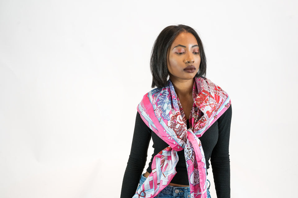 WOMEN'S MULBERRY SILK PINK BLUE WHITE ABSTRACT PRINT LARGE HEAD AND BODY SCARF