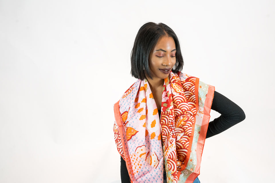 WOMEN'S MULBERRY SILK CUSTOM PRINT ORANGE HEAD AND BODY SCARF