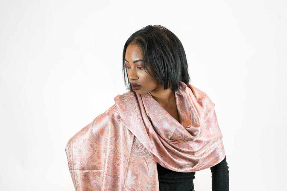 WOMEN'S MULBERRY SILK PINK AND CREME PAISLEY PRINT SCARF