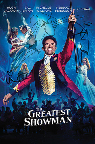 THE GREATEST SHOWMAN Autograph FILM MOVIE POSTER Print Signed by 4 of Cast