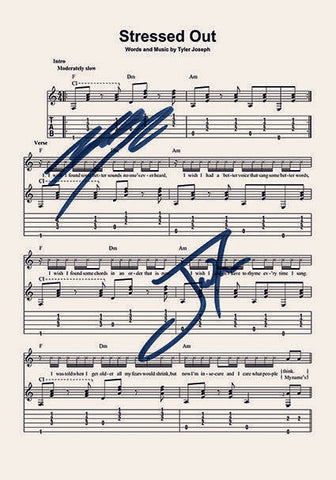 Twenty One Pilots Stressed Out Signed Music Sheet Album Autograph Print #803