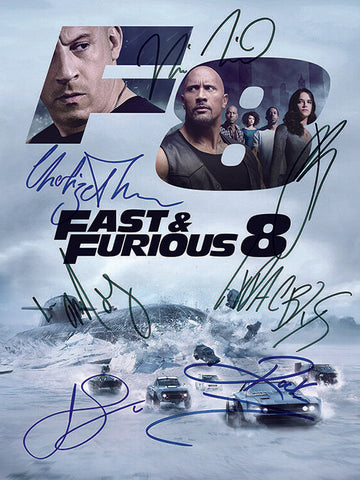 FAST & FURIOUS 8 (7 CAST SIGNED) AUTOGRAPH MOVIE POSTER A2 594 x 420mm (Rare)