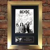 ACDC (Very Rare) Band Signed Autograph Mounted Photo REPRODUCTION PRINT A4 689