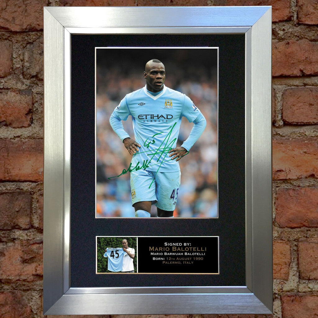 MARIO BALOTELLI AUTOGRAPHED SIGNED /& FRAMED PP POSTER PHOTO