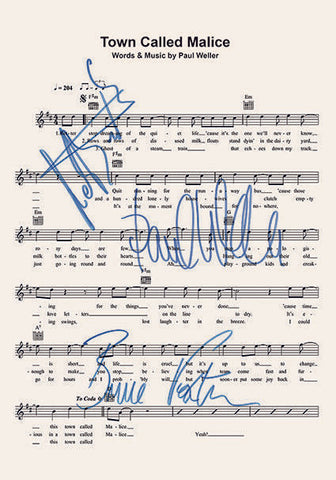 The Jam Town Called Malice Signed Music Sheet Album Autograph Print #807