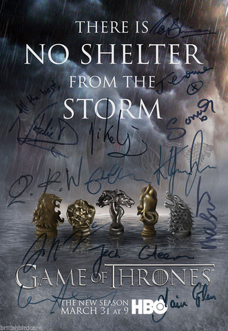 GAME OF THRONES Season 4 Autograph POSTER VERY RARE 13 Cast Signed Photo Quality
