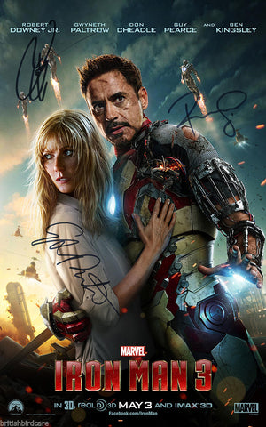 IRON MAN 3 Robert Downey Jr Quality Signed Autograph VERY RARE Movie Film POSTER