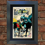 BATMAN & ROBIN Superhero Wall Comic Art Black / Silver / Gold Frame Poster #716