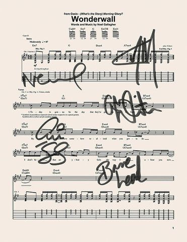 OASIS Wonderwall Signed Music Sheet Album Autograph Mounted A4 Re-Print #754