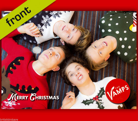THE VAMPS Autograph Signed Christmas Card Print INCLUDES ENVELOPE A5 Size