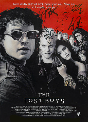 THE LOST BOYS Autograph FILM MOVIE POSTER Print Signed by 4 of Cast