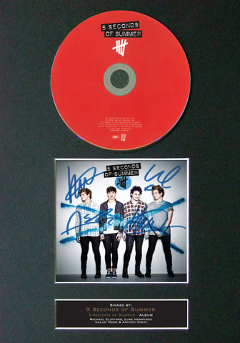 5 SECONDS OF SUMMER Signed Album COVER With Repro Cd Print A4 Autograph (44)