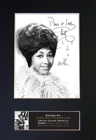 ARETHA FRANKLIN Signed Autograph Mounted Photo REPRODUCTION PRINT A4 661