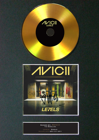 #168 AVICII GOLD DISC Levels Cd Single Album Signed Autograph Mounted Re-Print