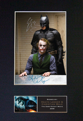 BATMAN AND JOKER bale Signed Autograph Mounted Photo REPRODUCTION PRINT A4 382