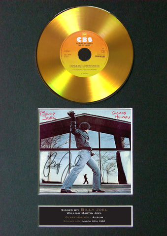 #134 Billy Joel - Glass Houses GOLD DISC CD Album Signed Autograph Mounted Repro