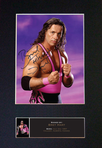 BRET The Hitman HART WWE Quality Autograph Mounted Photo Repro Print A4 544