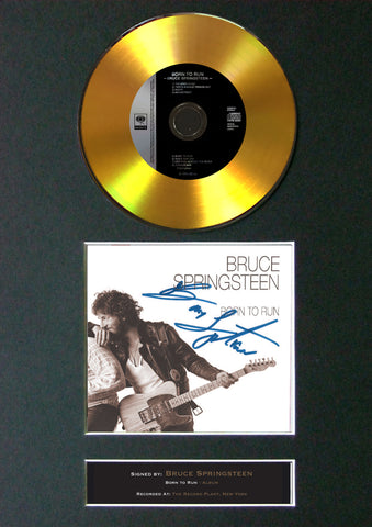 #124 Bruce Springsteen GOLD DISC Cd Single Album Signed Autograph Mounted Re-Print