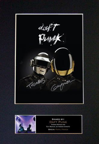 DAFT PUNK Mounted Signed Photo Reproduction Autograph Print A4 353