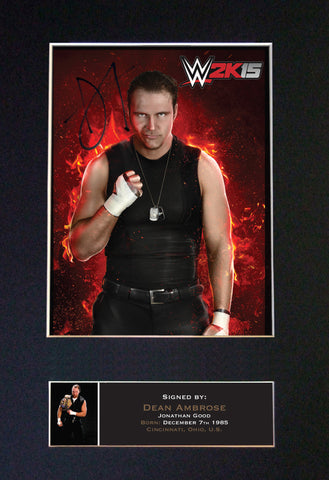 DEAN AMBROSE WWE Quality Autograph Mounted Photo Repro Print A4 581