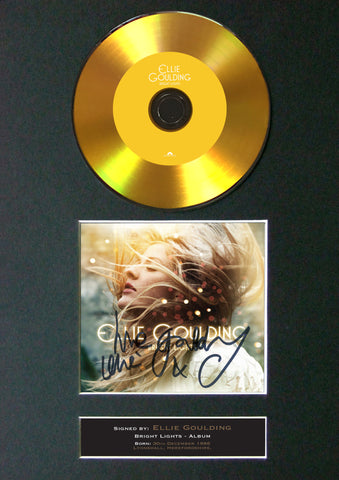 #Ellie Goulding - Bright Lights GOLD DISC Cd Album Signed Autograph Mounted Print